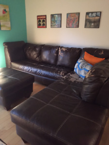 $100 OBO -large sectional couch with ottoman - paid over $1,600!