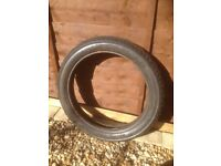 Motorcycle front tyre off Harley Davidson