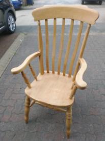 Large Vintage Wooden Fireside Armchair