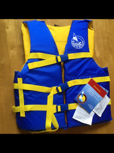 FOR SALE -  4 ADULT LIFE VESTS IN A  CONVENIENT CARRYING CASE