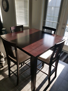 Dark brown bar height kitchen table and chairs