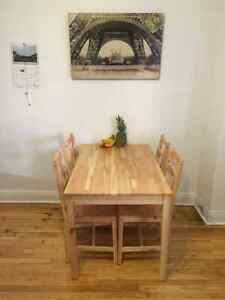 Kitchen Table + 4 Chairs (table + 4 chaises) MAINSTAY Solid pine