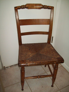EARLY ANTIQUE PILLOW BACK CHAIR ORIGINAL SEAT EX  CONDITION