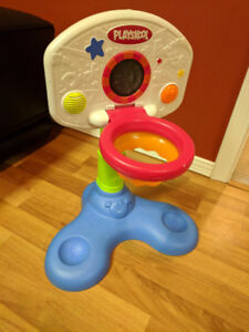 Vibrating chair, mirror, basket ball net and infant play zone