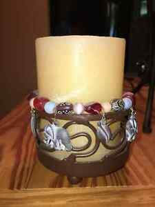 CANDLE WITH BEADED STAND Kitchener / Waterloo Kitchener Area image 1