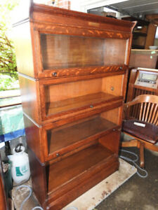 antique barrister bookcase 4 glass levels restored professionaly