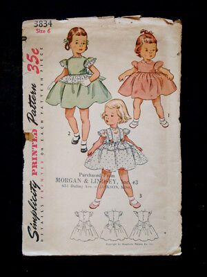 1950's Vintage SIMPLICITY #3834 GIRLS 1pc Bow-Back DRESS Fashion PATTERN / Sz 6