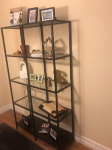 Glass shelves wall unit