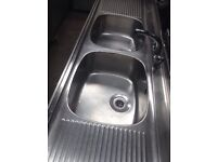 Commercial double sink/ stainless steel sink unit