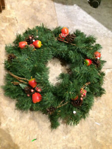 Wreath, stockings, decorations, 6' Christmas Tree
