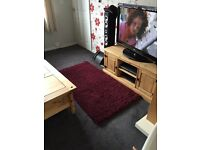 Red shaggy rug