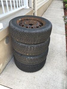 GOODYEAR NORDIC 185/65/14 WINTER TIRES & RIMS GREAT CONDITION Cambridge Kitchener Area image 2
