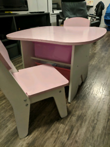 Pink & White wooden table