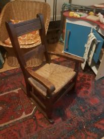 Antique wooden child rocking chair children's nursery