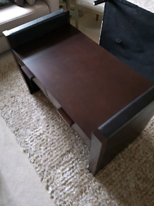 Espresso leather coffee table