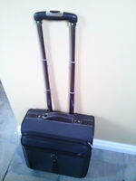 carry on luggage, leather/fabric, black/grey with lock