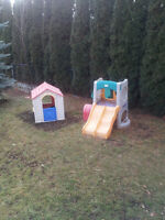 outside climber and playhouse sold together