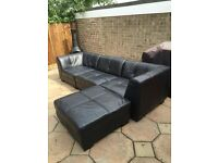 Modern Black Leather Settee **4 Sections** **Good Condtion** **RRP £1500**