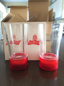 TWO BUDWEISER RED LIGHT GOAL-SYNCED GLASSES- SYNC TO ANY NHL TE
