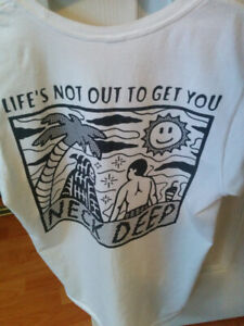 White Neck Deep Band Shirt Size S