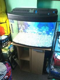 FISHBOX 64 LITRE GRAPHITE FISH TANK WITH WORKING LIGHTS, STAND