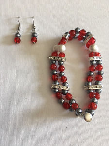 Two-tiered Crackle Bead Statement Bracelet and Earring Sets