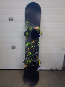 Snowboard with binding and size 11 boots