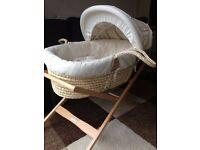 Mamas & Papas Moses Basket & Timber Stand **Excellent Condition**