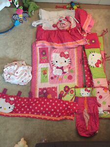 Hello kitty crib bedding set product by lambs & ivy