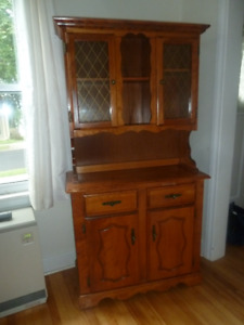 SOLID WOOD CABINET with 2 Glass Doors