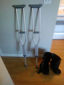 Crutches and air walker boot