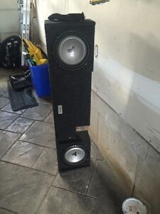 "Custom made box with 2 10"" jl audio Subs  and amp"