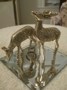 VERY OLD & ELEGANT VINTAGE SOLID BRASS DOE /STAG FIGURINES