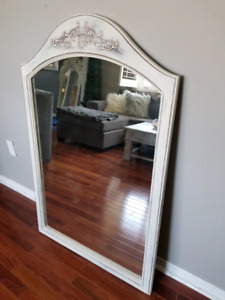 Chalk painted refinished mirror antique white