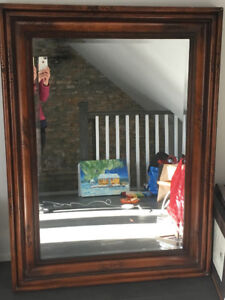 Large wooden framed mirror - rustic