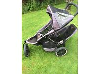 Phil and ted double pushchair black Woking