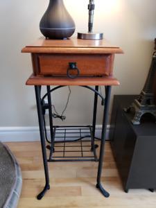 Table d'appoint en bois & fer forgé, table de salon, antique