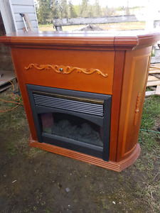 Electric fireplace inside a cabinet