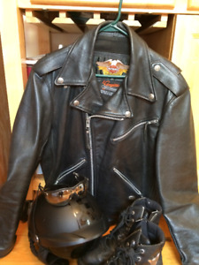 MOTORCYCLE JACKET HELMET AND BOOTS
