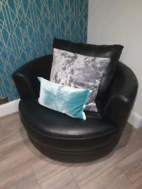 Black leather swivel love chair tub snuggle chair arm chair scs