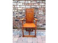 Old Pine Carver Hall Chair - VGC - CAN DELIVER