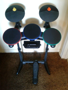 Wii Rock Band Drum Set and Games
