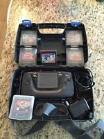 Sega game gear with traveling case and 6 games