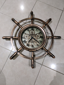 Effect Ship Wheel Mechanical Gear Skeleton Wall Clock