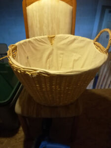 2 wicker laundry baskets with liners