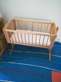 Mothercare swinging crib natural wood