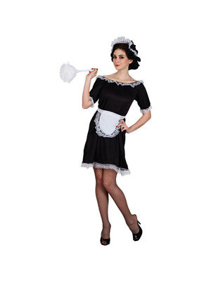 French Maid Costume Black White Waitress Fancy Dress Outfit Sizes 6 to 24 (French Maids Outfit)