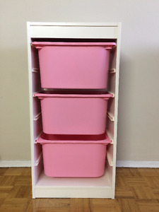 Moving sale:TROFAST Storage combination with boxes white & pink