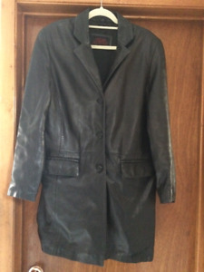 Leather Oscar Leopold 3/4 length coat