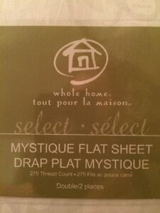 Sears Mystique Flat & Fitted Sheets, Double, White Kingston Kingston Area image 2
